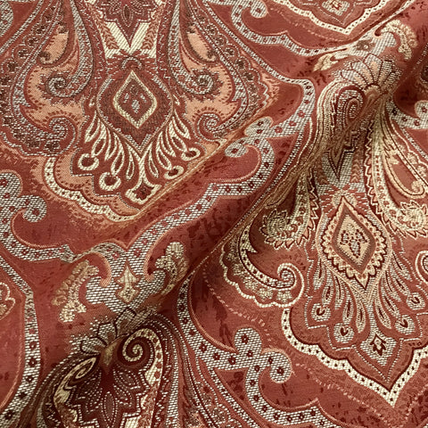 Claret Burgundy Red Damask Jacquard Upholstery Fabric - 54""