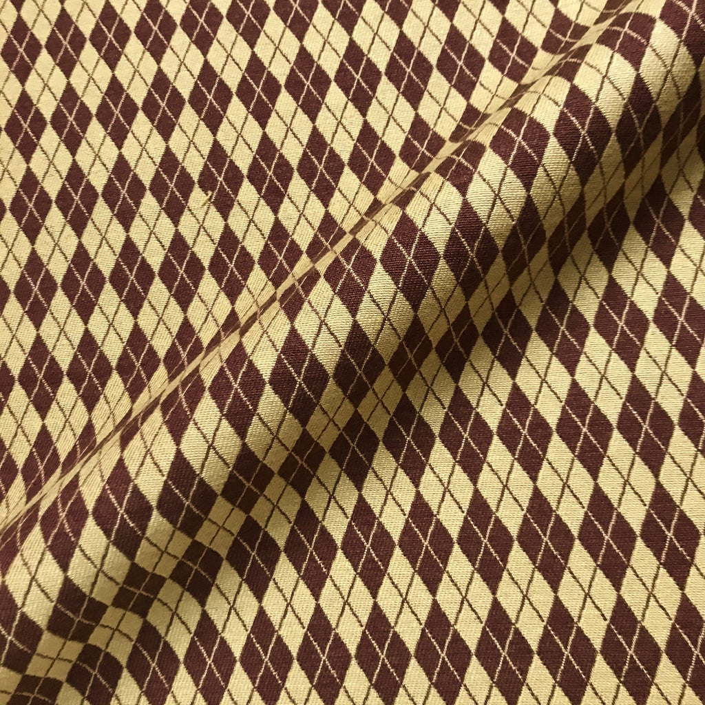 Wheat Brown Argyle Upholstery Fabric - 54""