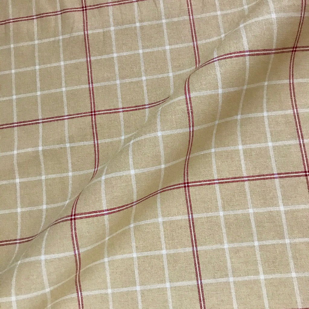 Turkish Antique 100% Cotton Check Fabric - 56""