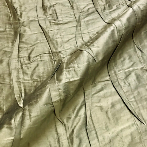Antique Gold Pleated 100% Silk Fabric - 39""