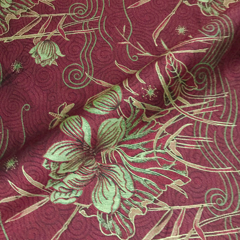 Red Embroidered Lily Dragonfly Upholstery Fabric - 54""