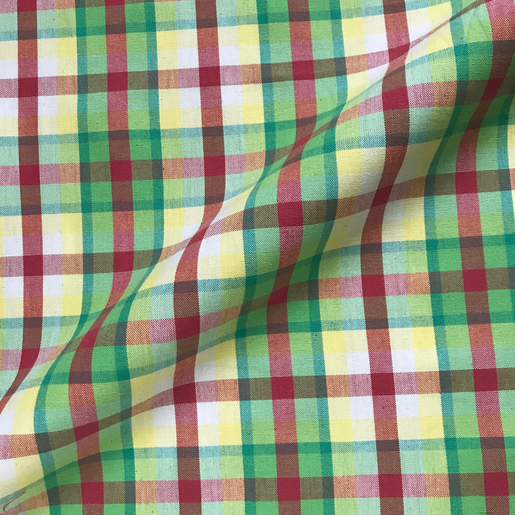 Springtime Tartan Check in Green Upholstery Fabric - 54""