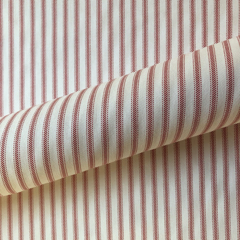 Red Farmhouse Stripe Cotton Upholstery Fabric 54""