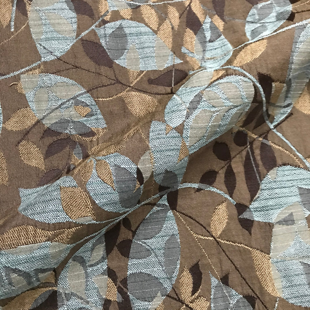 Brown Light Blue Botanical Woven Upholstery Fabric - 54""