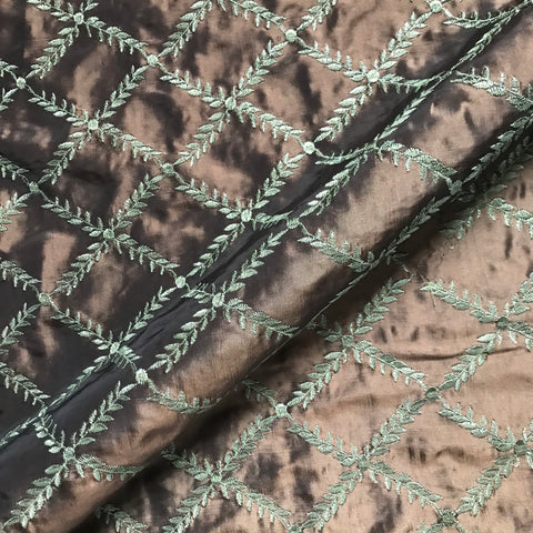 Emerson Coffee Brown Embroidered Green Vine Fabric - 54""