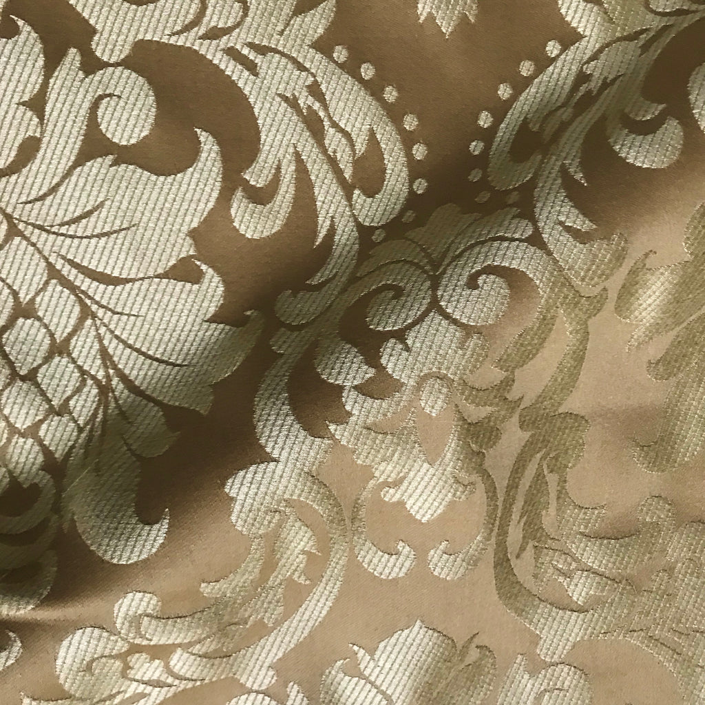 Carrigan Gold Neutral Woven Damask Upholstery Fabric - 54""