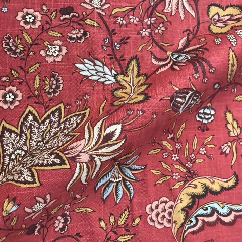 Granada Red Chic Floral Upholstery Fabric - 54""