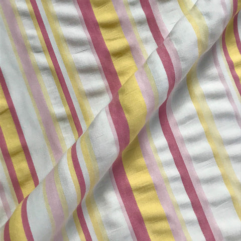 Perry Pastel Pink Yellow Stripe Brushed Cotton Fabric - 54""