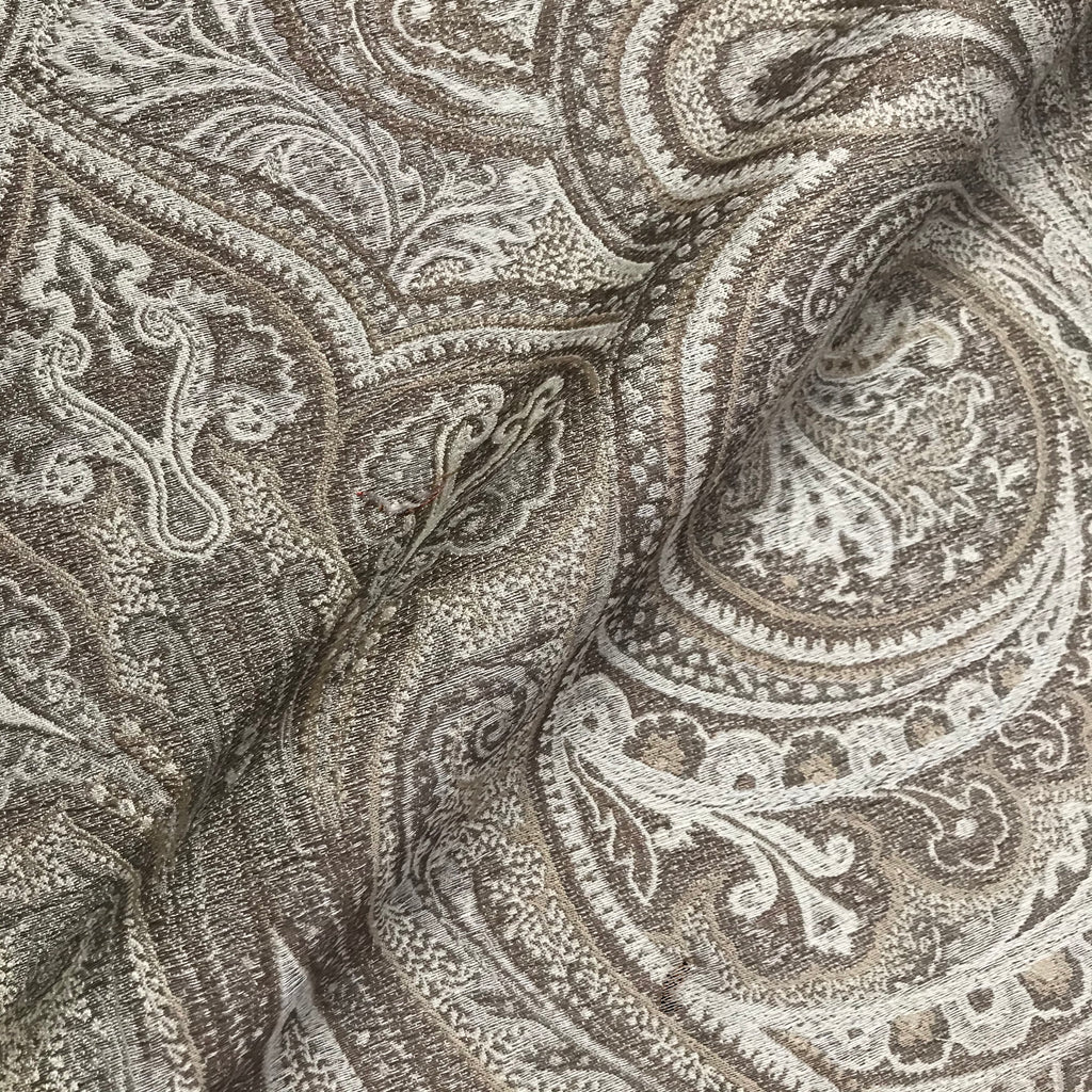 Goliath Beige Classic Traditional Damask Woven Fabric - 54""