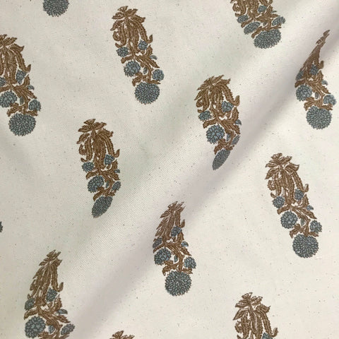 Latika Ivory Blue Cornflower Cotton Fabric - 54""