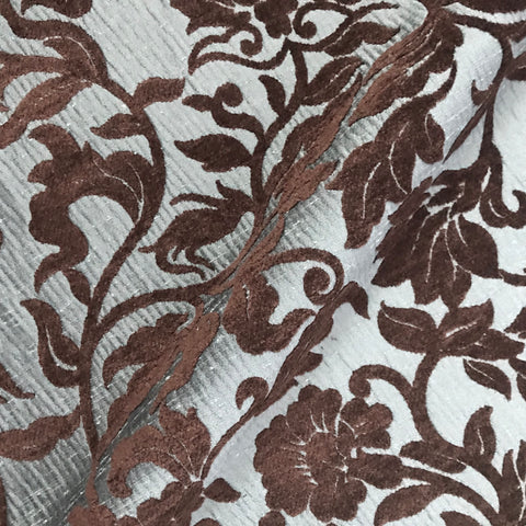 Valentina Brown Floral Upholstery Fabric - 54""
