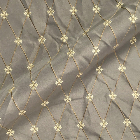 Cassius Taupe Gold Embroidered Fabric - 54""