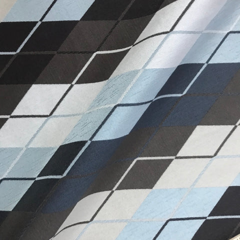 Blue Ivory Black Contemporary Abstract Stripe Fabric - 54""
