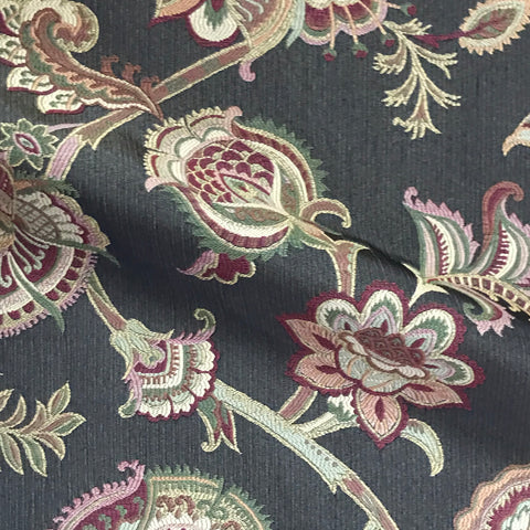 Anastasia Black Floral Woven Upholstery Fabric - 54""