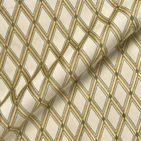 Gold Green Luxe Diamond Brocade Woven Upholstery Fabric - 54""