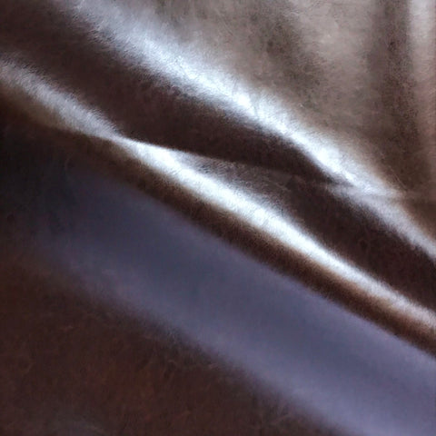 Chestnut Brown Solid Faux Leather Upholstery Fabric - 54""
