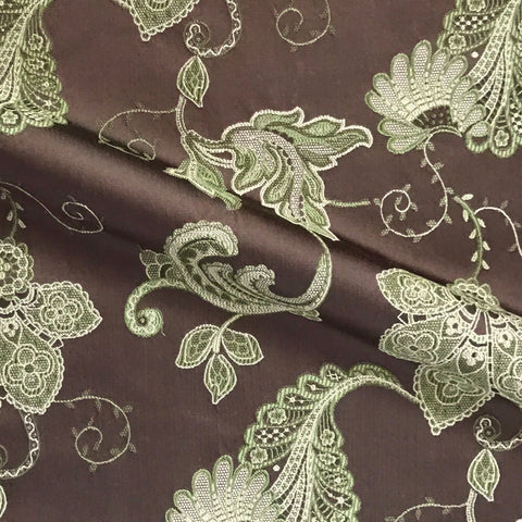 Delphine Brown French Country Floral Upholstery Fabric - 54""