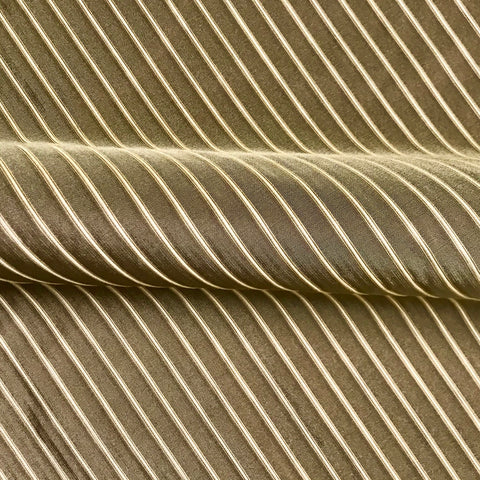 Diffusion Fawn Brown Pinstripe Cotton Blend Upholstery Fabric - 54""
