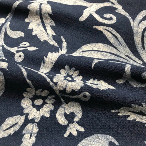 Bonaire Blue White Cotton Floral Print Upholstery Fabric - 54'