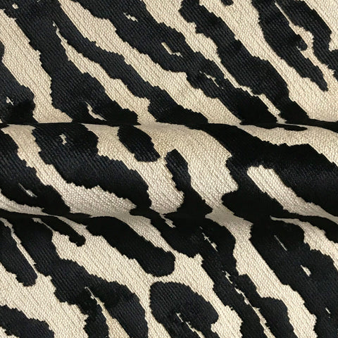 Black Beige Animal Stripe Woven Upholstery Fabric - 54""