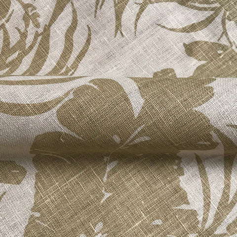 Key Largo Neutral Botanical Linen Upholstery Fabric - 54""