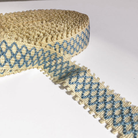 Blue and Wheat High Quality Decorative Border Trim by the yard