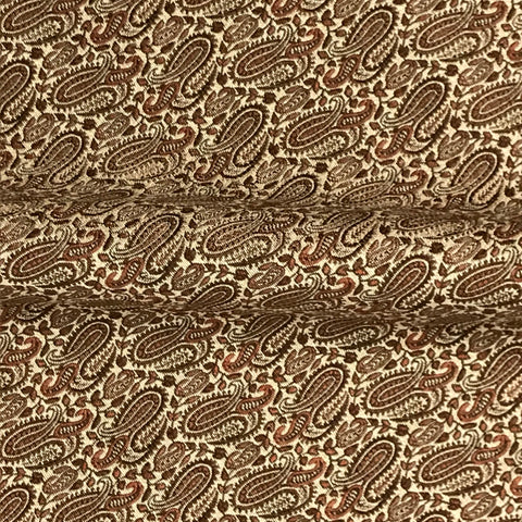 Burnt Orange Mini Paisley Woven Jacquard Upholstery Fabric - 54""