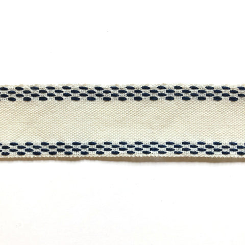 Navy Blue and White High Quality Decorative Border Trim by the yard