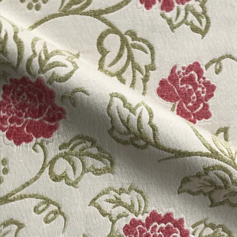 Ivory Tropical Floral Embroidered Upholstery Fabric 52""