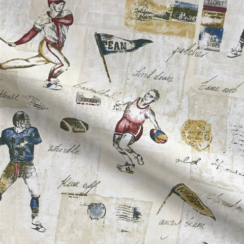 Vintage Varsity Football Print Cotton Upholstery Fabric - 54""