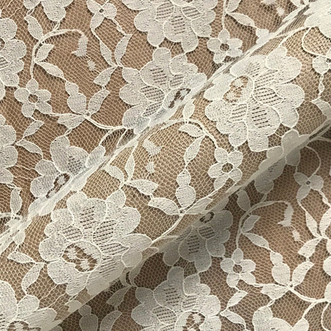 Daisy Ivory Tan Floral Lace Overlay Upholstery Fabric - 54""