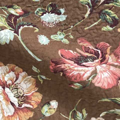 Brown Quilted Floral Print Upholstery Fabric - 54""