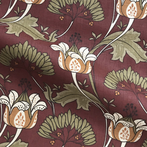 Scarlet Country Floral Linen Upholstery Fabric 54""