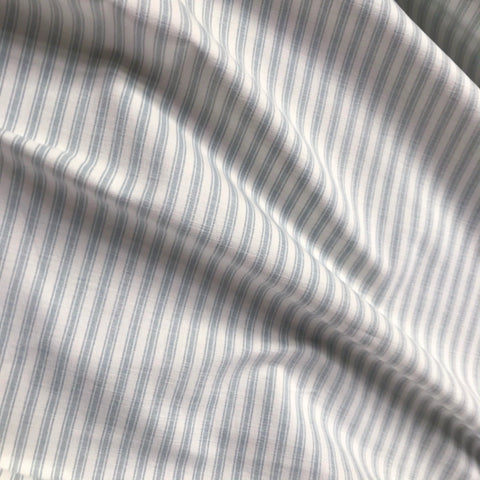 White Gray Ticking Stripe Cotton Upholstery Fabric - 54""