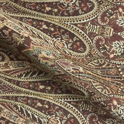 Sheffield Brown Damask Jacquard Upholstery Fabric - 54""