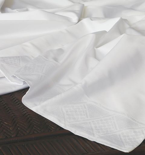 Iris Jacquard Flat Sheet in White