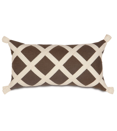 "Chestnut Brown Leon Gimp Trim Decorative Pillow Cover 11"" x 21"""