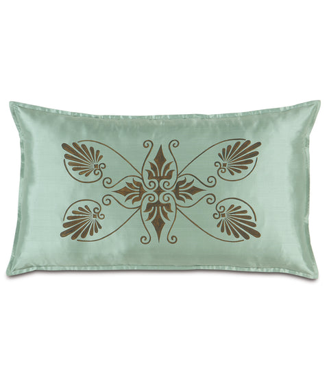 "21"" x 37"" Anthemion Handpainted Teal Silk King Sham Pillow Cover"