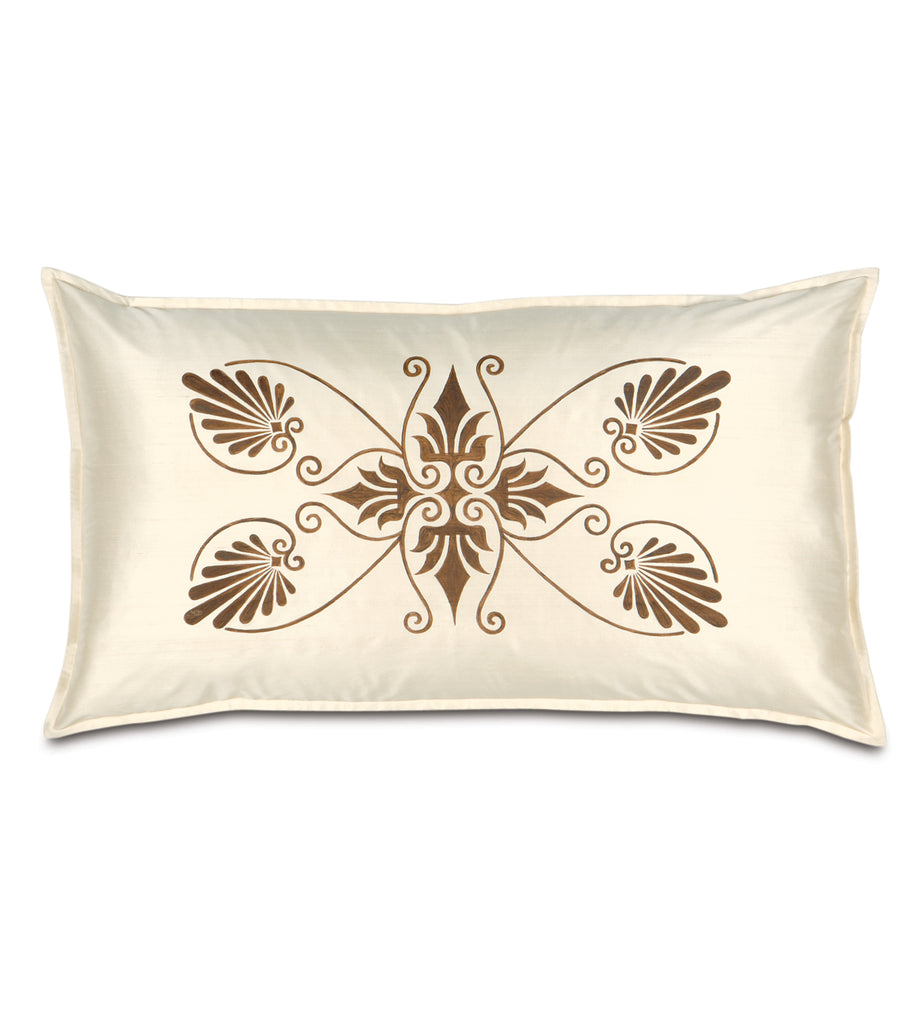 "21"" x 37"" Anthemion Handpainted Ivory Silk King Sham Pillow Cover"
