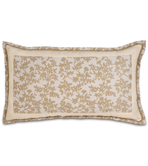 "Miriam Beige Woven Floral Leaf King Sham Cover 21"" x 37"""