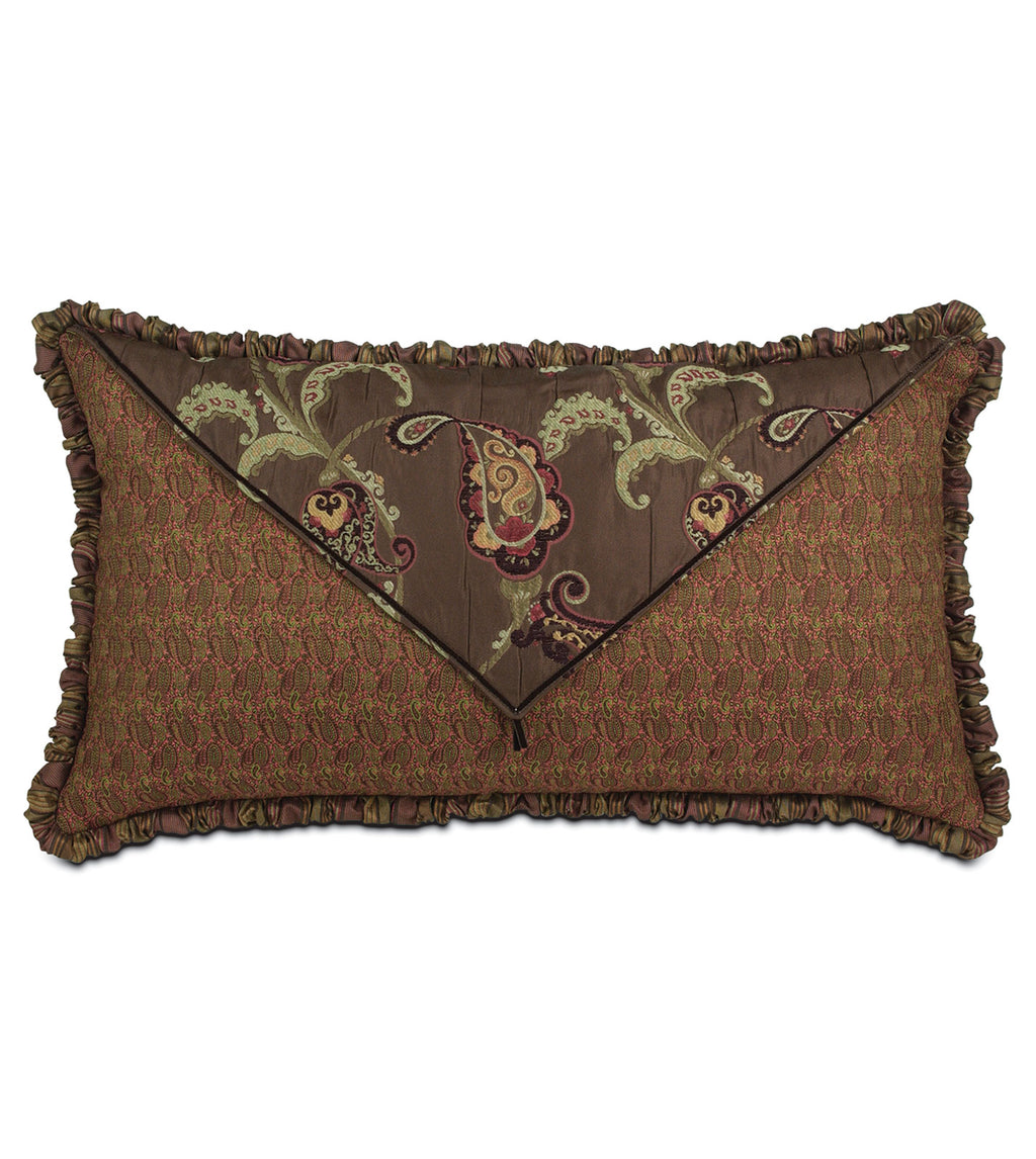 "21""x 37"" Amelie Red and Brown Floral Luxury King Sham"