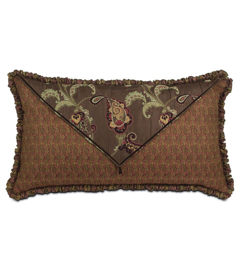 "Amelie Red and Brown Floral Luxury King Sham 21""x 37"""
