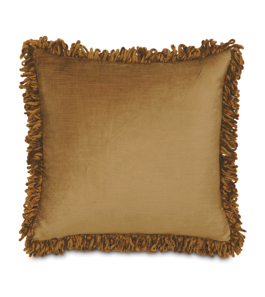 "Majestic Velvet Fringe Decorative Pillow Cover in Gold 18""x18"""