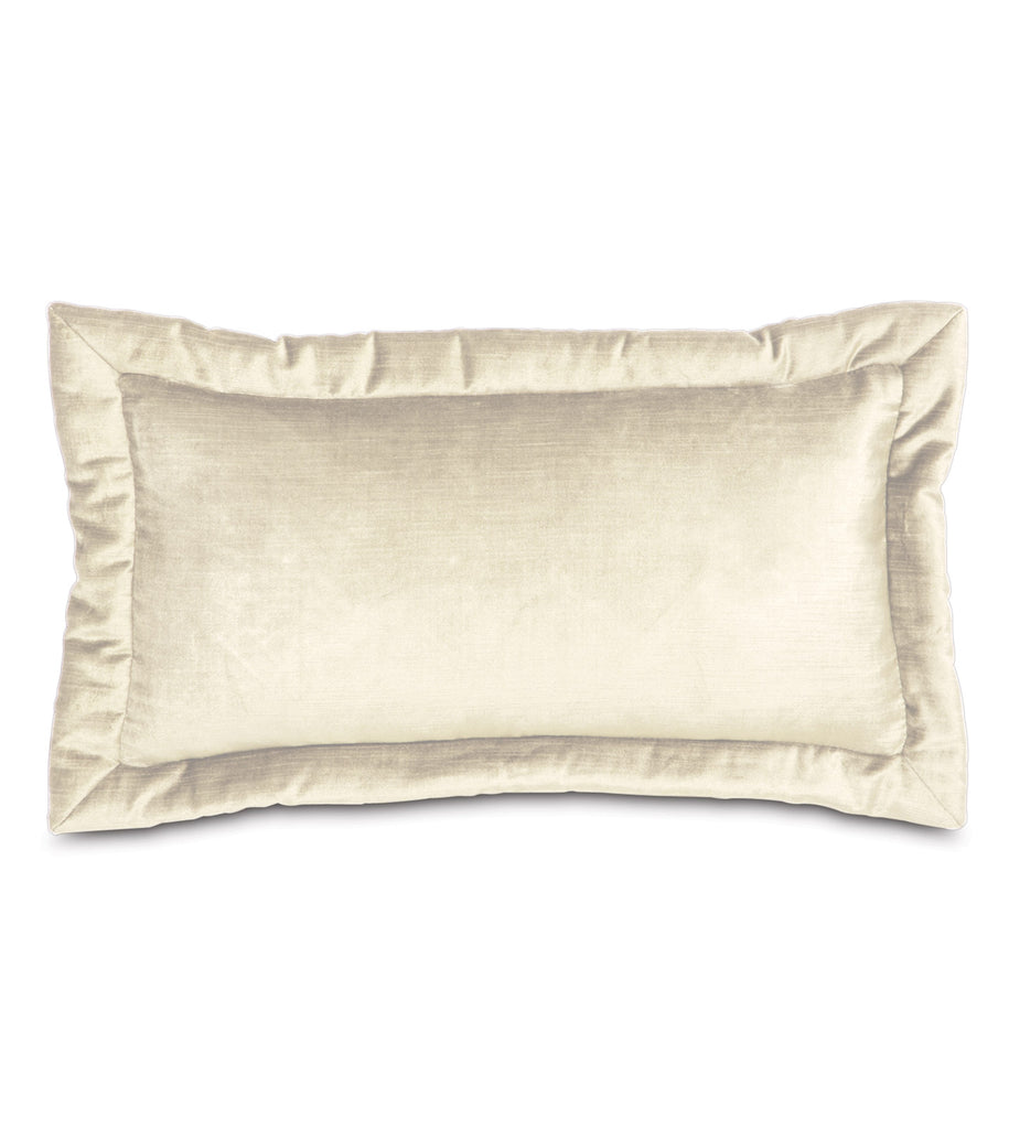 "Majestic Velvet Decorative Accent Pillow Cover in Ivory 11""x21"""
