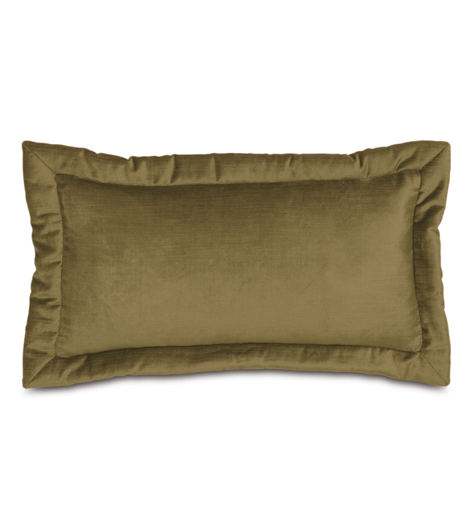"Majestic Velvet Decorative Accent Pillow Cover in Olive 11""x21"""