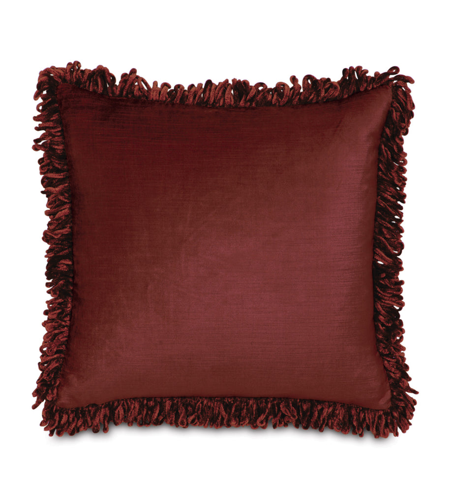 "Majestic Velvet Fringe Decorative Pillow Cover in Red 18""x18"""