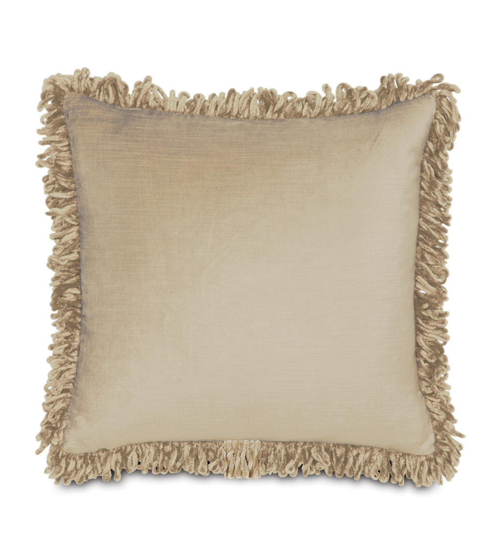 "Majestic Velvet Fringe Decorative Pillow Cover in Taupe 18""x18"""