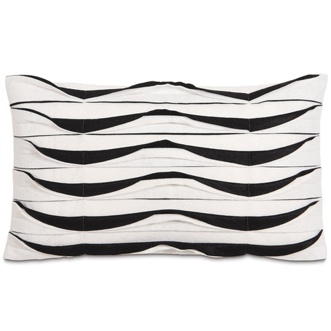 "Art Deco Monochromatic Pleated Lumbar Pillow Cover 13"" x 22"""