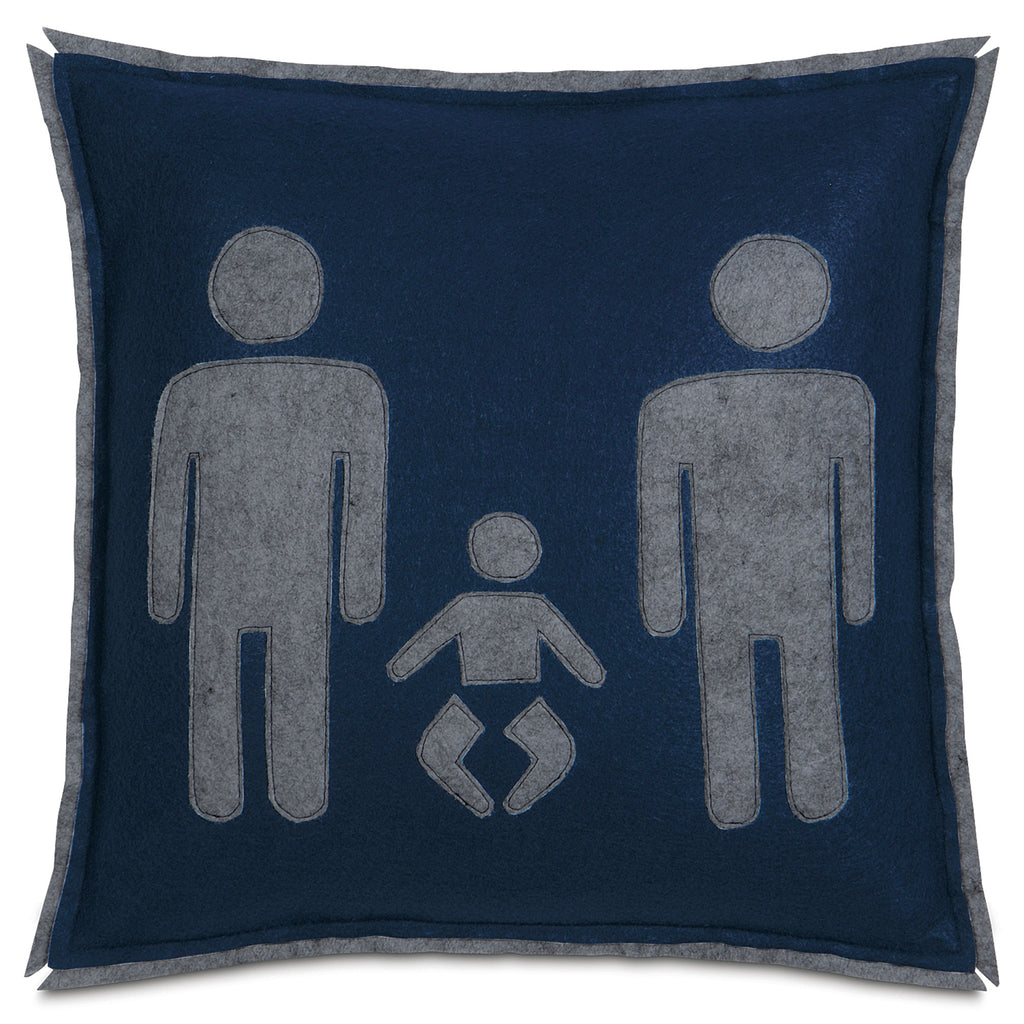 "Dark Navy Family Union Decorative Pillow Cover 18"" x 18"""