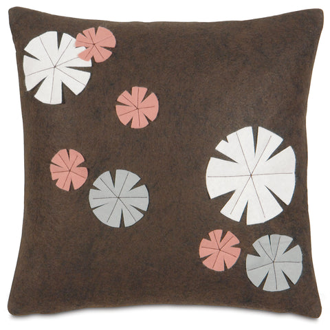 "Japanese Floating Lily Pad Decorative Pillow Cover 16"" x 16"""